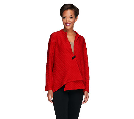 Susan Graver Textured Knit Asymmetrical Hem Jacket w/ Novelty Button