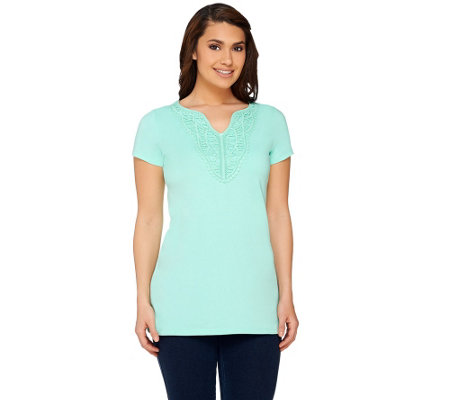 Liz Claiborne New York Lace Trim Split Neck Tee