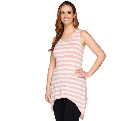 As Is Logo By Lori Goldstein Petite Striped Shark Bite Hem Slub Knit Tank