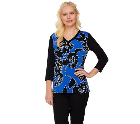 Susan Graver Printed Liquid Knit V-Neck Top with Solid Sleeves