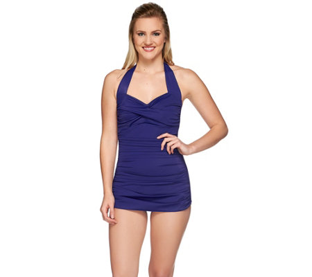 DreamShaper by Miraclesuit Caitlin Ruched Halter Swimsuit