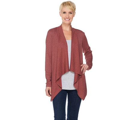LOGO Lounge by Lori Goldstein Ribbed Knit Drape Front Cardigan