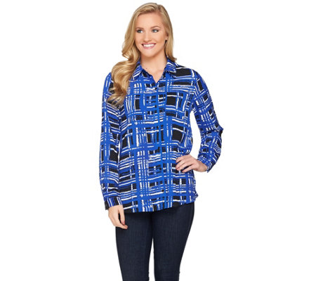 Susan Graver Printed Stretch Woven Button Front Shirt