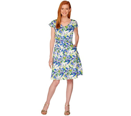 Isaac Mizrahi Live! Garden Floral Print Fit and Flare Dress