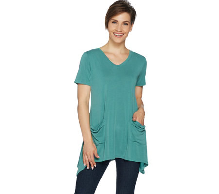 LOGO by Lori Goldstein Washed Jersey Knit Top with Patch Pockets