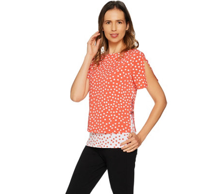 Susan Graver Printed Liquid Knit Layered Top w/ Ring Detail