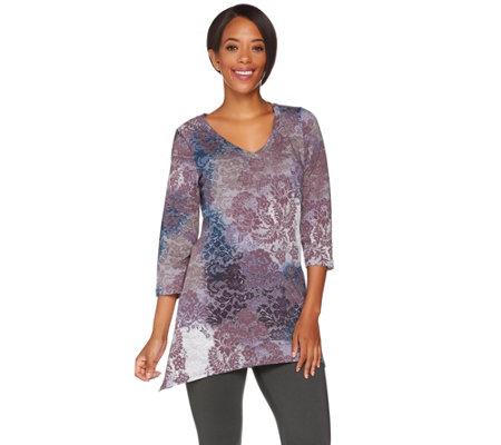 """As Is"" LOGO Lounge by Lori Goldstein French Terry Printed Top"