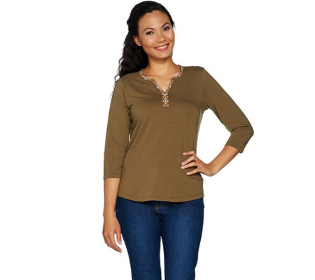 Denim & Co. 3/4 Sleeve Split V-Neck Top with Embroidery