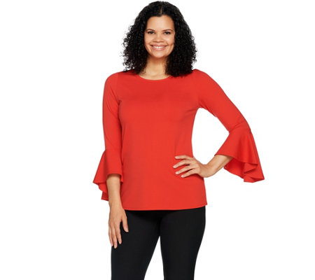 Du Jour Scoop Neckline Bell Sleeve Knit Top