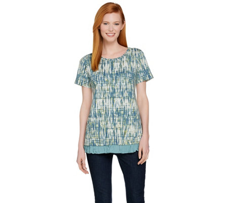 """As Is"" LOGO Lounge by Lori Goldstein Printed Top w/ Ruffle Hem"