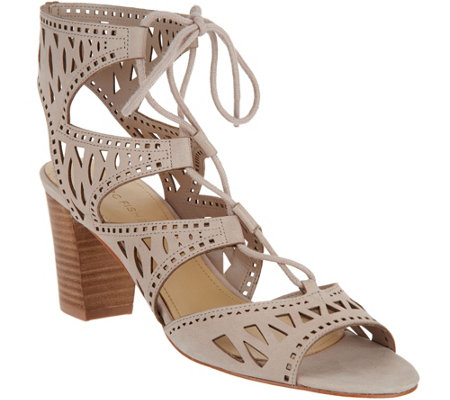 """As Is"" Marc Fisher Suede Perforated Lace-up Sandals Petite"
