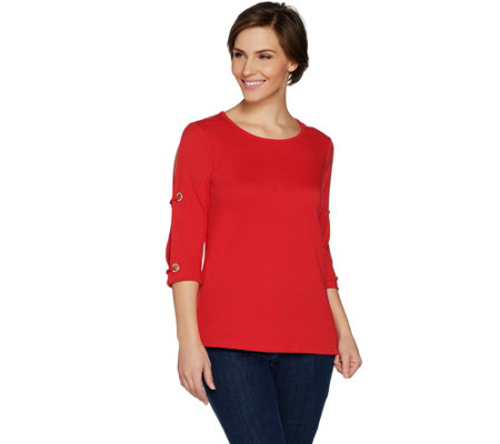 Quacker Factory Split Sleeve Knit Top with Rhinestone Grommet Detail
