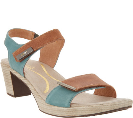 Naot Leather Ankle Strap Block Heeled Sandals - Intact
