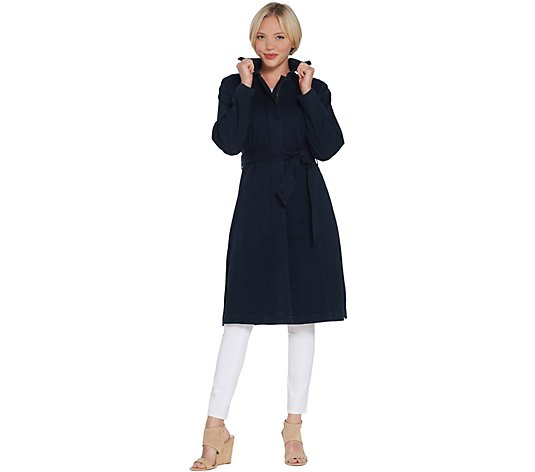 H by Halston Denim Zip Front Trench Coat with Belt
