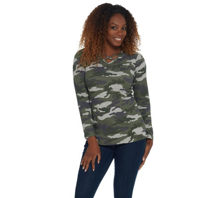 Quacker Factory Embellished Heathered Camo Long Sleeve Knit Top