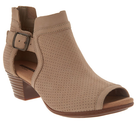 """As Is"" Clarks Leather Perforated Open Toe Sandals- Valarie Kimble"