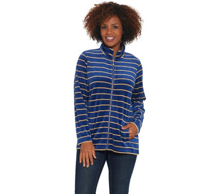 Quacker Factory Striped Lurex Knit Velvet Zip Front Jacket