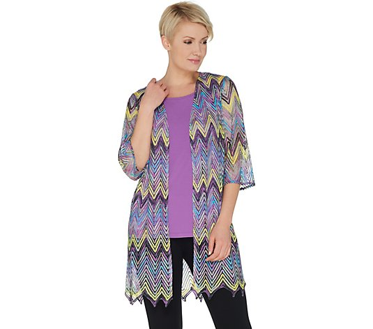 """As Is"" Susan Graver Chevron Novelty Knit Cardigan and Knit Tank Set"