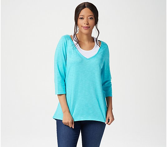 Belle by Kim Gravel Slub Knit Tank Duet Hi-Low Top