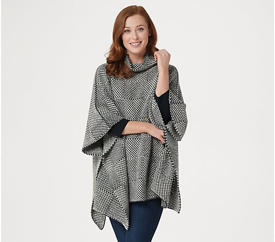 Fisherman Out of Ireland Merino Wool Checkered Poncho