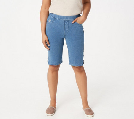Quacker Factory DreamJeannes Shorts with Zipper Detail