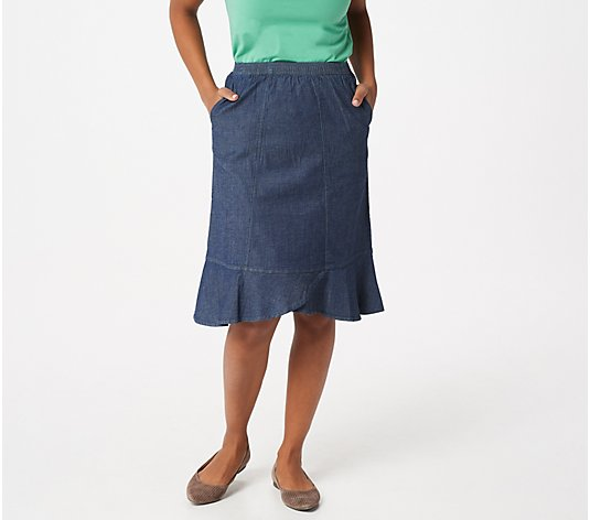 Denim & Co. Lightweight Denim Flare Bottom Skirt