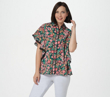 Laurie Felt Button Front Blouse with Butterfly Sleeves