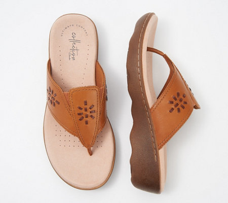 Clarks Collection Leather Thong Sandals - Phebe Mist