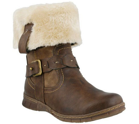 Spring Step Boots with Faux Fur Cuff - Peeta