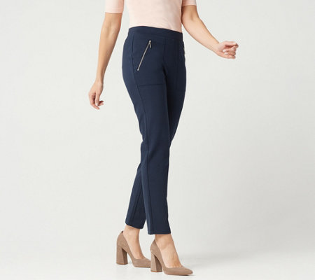 """As Is"" Susan Graver Petite Weekend Premium Stretch Pull-On Pants"