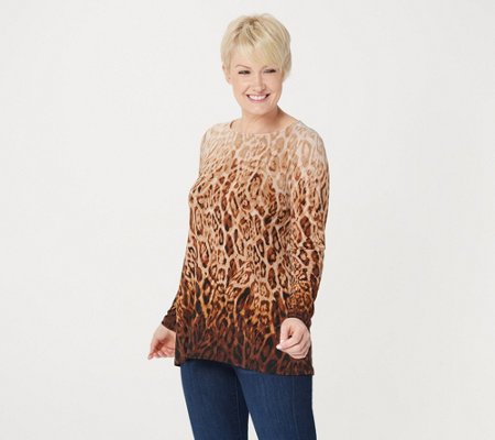 Linea by Louis Dell'Olio Long-Sleeve Ombre Animal Print Knit Top