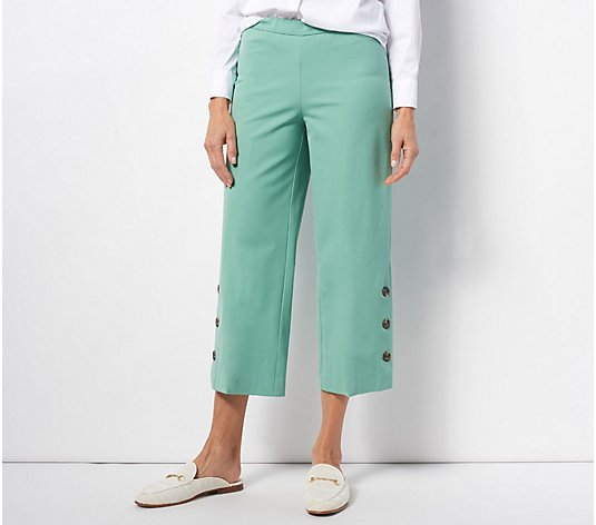 Isaac Mizrahi Live! Tall 24/7 Stretch Culotte Pants with Button Hem
