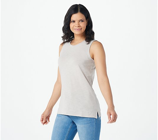 Denim & Co. Naturals Linen Blend Jersey Knit Tank