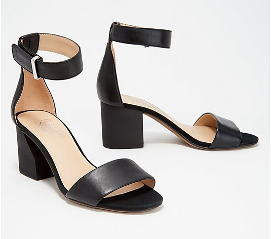 """As Is"" Franco Sarto Suede or Leather Block Heeled Sandals- Miranda"