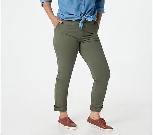Denim & Co. Petite Relaxed EasyWear Twill Straight Leg Pants