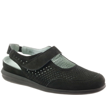 David Tate Casual Open Back Leather Mary Janes- Clever