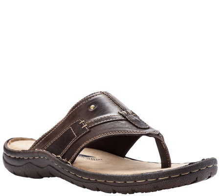 7997597535e Propet Men s Wide Based Leather Flip-Flop Sandals - Jonas — QVC.com