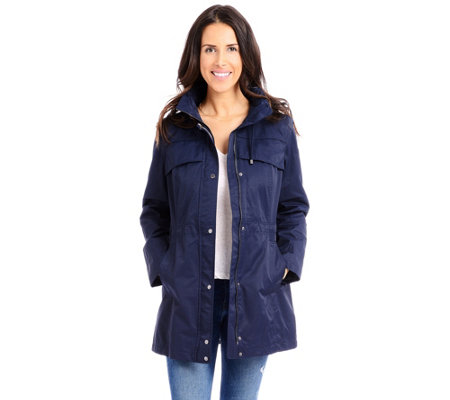f1976acaeee4 Vince Camuto Hooded Cinched-Waist Jacket — QVC.com