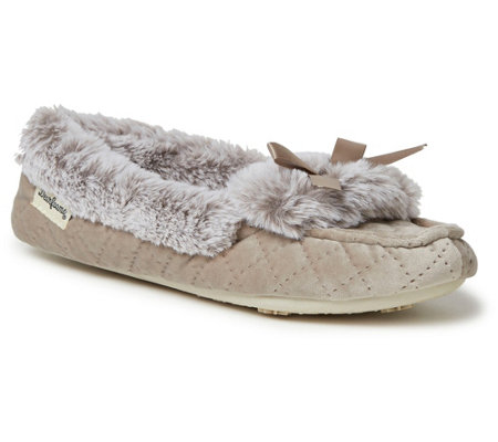 Dearfoams Quilted Velour Moccasin Slippers withBow