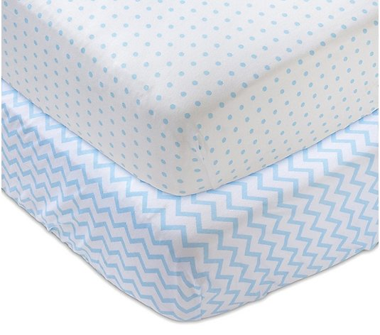 Ely's & Co. Set of 2 Blue Printed Jersey CottonCrib Sheets