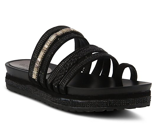 Patrizia by Spring Step Crystal Detail Slide Sandals - Bugmadi