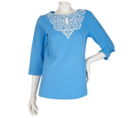 Bob Mackie's Embroidered Daisy Yoke Top with 3/4 Sleeves