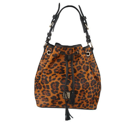 Dooney   Bourke Leopard Print Leather Drawstring Bag - Page 1 — QVC.com a85b421a833f0
