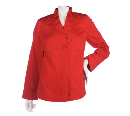 Susan Graver Cotton Jacket with Ruffled Collar