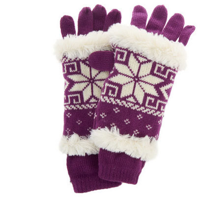 MUK LUKS 3-in-1 Weather Resistant Snowflake Knit Gloves