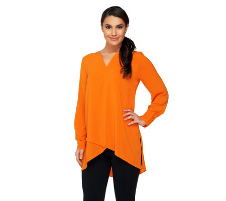 Susan Graver Stretch Woven Tunic with Crossover Hem