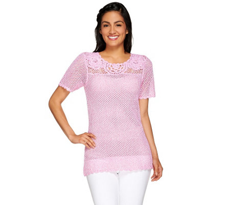 Denim & Co. Marled Crochet Short Sleeve Sweater with Scoopneck