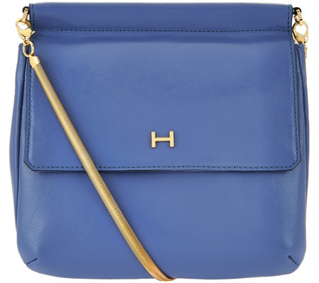 H by Halston Smooth Leather Crossbody Handbag with Snake Chain