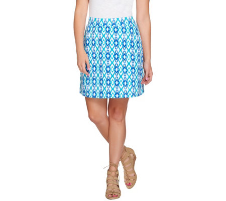 Susan Graver Weekend Printed French Terry Comfort Waist Skort