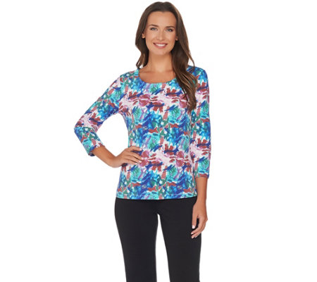 Women with Control Choice of Solid or Printed Knit Top